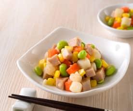 玉米炒三色丁