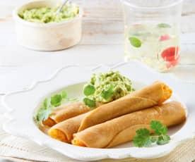 Taquitos dorados de papa y chorizo vegetariano