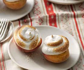 Melocotones asados y merengue