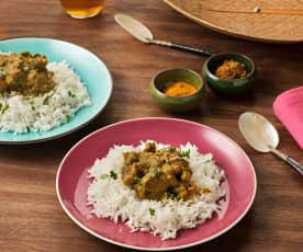 Cordero garam masala con arroz basmati
