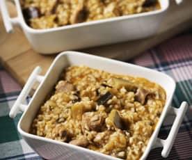 Cazuela de cordero y arroz con berenjenas