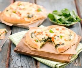 Pizza bianco ze szpinakiem