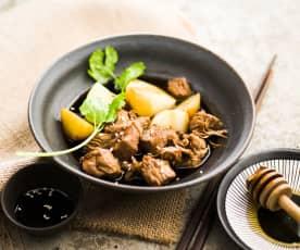 Poulet et pommes de terre, sauce miel-soja