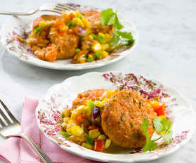 Baked Salmon Cakes with Corn Salsa