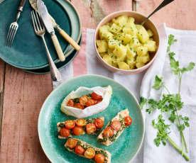 Papelotes de salmão com salada de batata