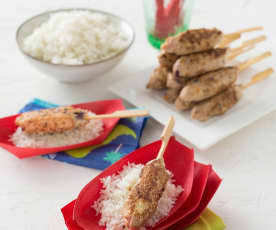 Chicken skewers and rice