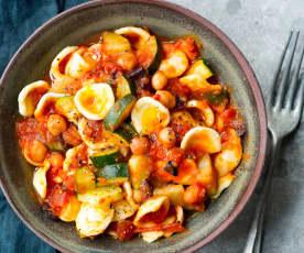 Orecchiette, courgettes, tomates et pois chiches