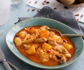 Pollo guisado con patatas y piquillos (Cocción lenta)