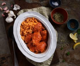 Contramuslos de pollo en salsa de pimiento rojo con arroz (Cocción lenta)