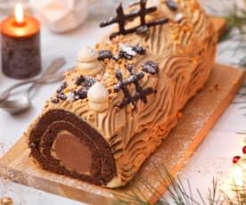 Bûche roulée chocolat-café, cœur praliné-chocolat
