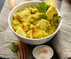 Mijo al curry con pollo y piña (sin gluten)