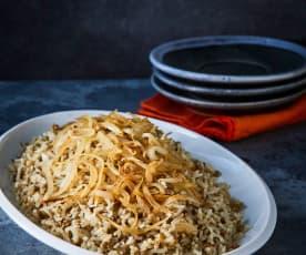 Mujaddara (arroz con lentejas)