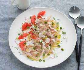 Ruby kingfish with citrus yoghurt dressing