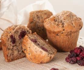 Muffins de queso manchego, nueces y arándanos