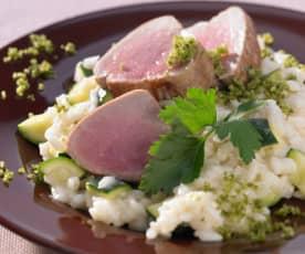 Schweinefilet mit Zucchini-Risotto