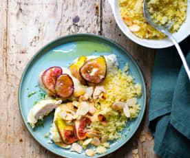 Poulet au citron vert, figues et mozzarella