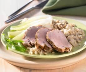 Schweinefilet mit Fenchelgemüse und Champignonweizen