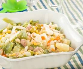 Ensalada templada de judías verdes con patata, maíz y atún