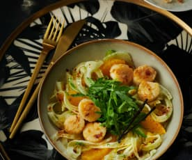 Jakobsmuscheln auf Rucola-Orangen-Salat