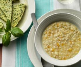 Zuppa di orzo con frittata e verdure a vapore