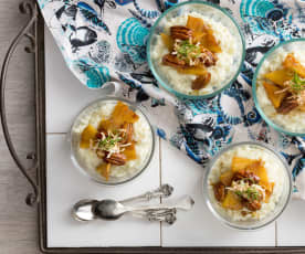 Coconut-lime rice pudding with caramelised pineapple