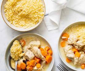 Blanquette de dinde à la vanille, boulgour aux carottes