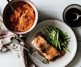 Menú: Sopa de ajo. Salmón con salsa de balsámico y zoodles de calabacín