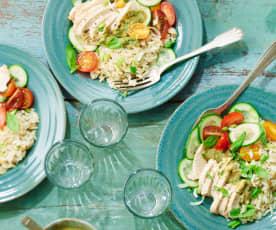 Salade de riz et poulet, vinaigrette tomate-basilic
