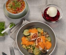 Menü: Minestrone, Putenrouladen mit Paprikasauce und Bulgur & heiße Liebe