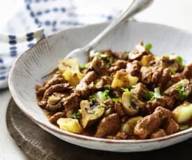 Malzbiergyros mit Kartoffeln und Champignons