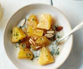 Ananas confit aux épices et au lait de coco