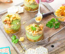 Guacamole avocat-banane et tartare de saumon à la coriandre