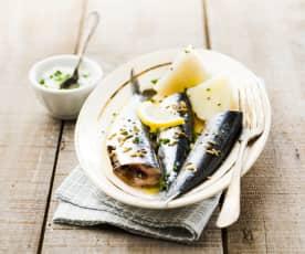 Sardines aux pommes de terre, crème à la ciboulette