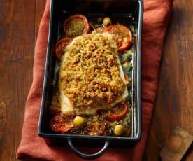 Fischfilet mit Oliven-Käse-Kruste