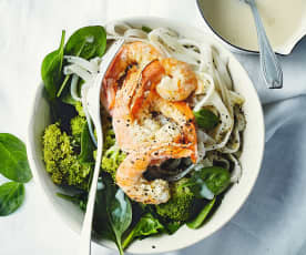 Nouilles de riz aux crevettes, lait de coco et brocoli