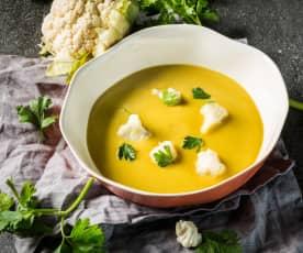 Karfiolsuppe mit gelben Linsen
