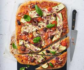 Zucchetti-Schinken-Pizza