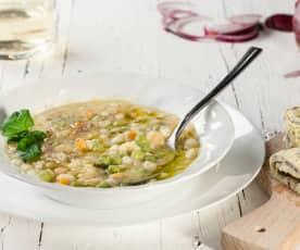 Zuppa di legumi con frittatina saporita