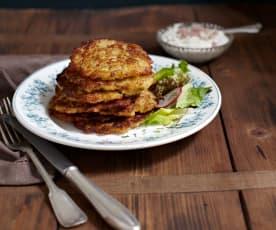 Birnen-Kartoffel-Reibekuchen mit Schinkendip