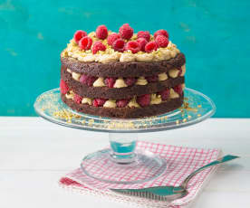 Vegan chocolate, raspberry and pistachio layer cake