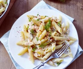 Penne in Lachs-Sahne-Sauce