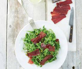 Salada de rúcula com muxama