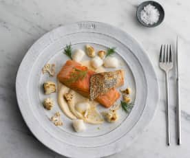 Confit salmon, Parmesan gnocchi with cauliflower cream