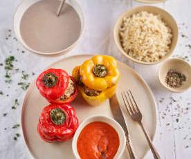 Vellutata di funghi; peperoni ripieni con riso e salsa di pomodoro