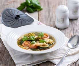 Zupa jarzynowa z kluskami kładzionymi (z osłoną noża miksującego)