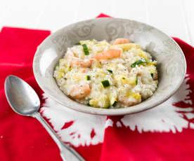 Risoto de curgete e camarão