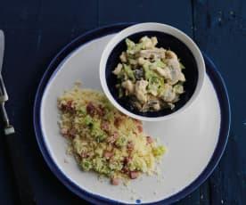 Frango cremoso com feijão-verde e cuscuz