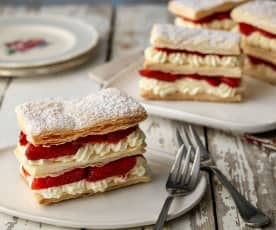 Mini Strawberry and Elderflower Mille Feuille