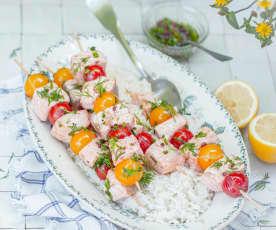 Brochettes de saumon aux tomates cerise