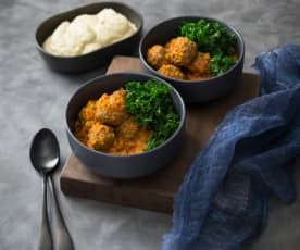 Kangaroo harissa polpette with lentils and kale